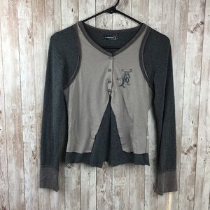 Jean Bourget Size 14 Girls Gray Brown Cardigan
